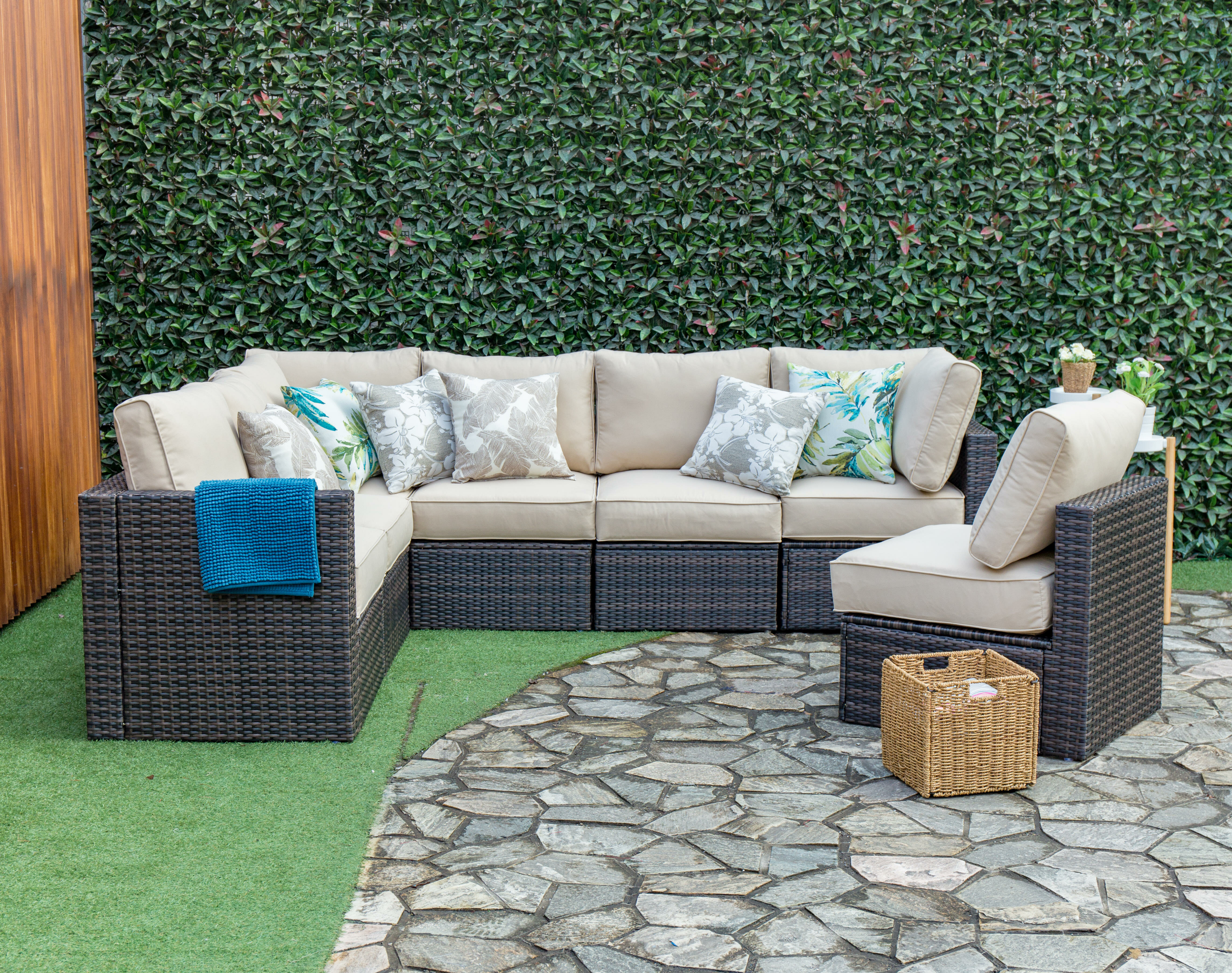 Breakwater Bay Sappington Outdoor 7 Piece Rattan Sectional Seating Group With Cushions Wayfair