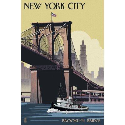 East urban home brooklyn bridge framed graphic art print poster new york city brooklyn bridge vintage advertisement print poster malvernweather Choice Image