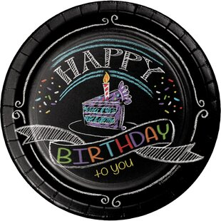Chalk Birthday Appetizer Plate (Set of 24)