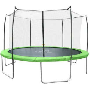 Pure Fun 14' W Dura-Bounce Round Trampoline with Safety Enclosure