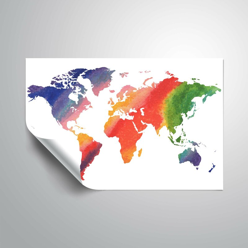 Harriet bee kuykendall happy rainbow watercolor world map wall decal kuykendall happy rainbow watercolor world map wall decal gumiabroncs Images