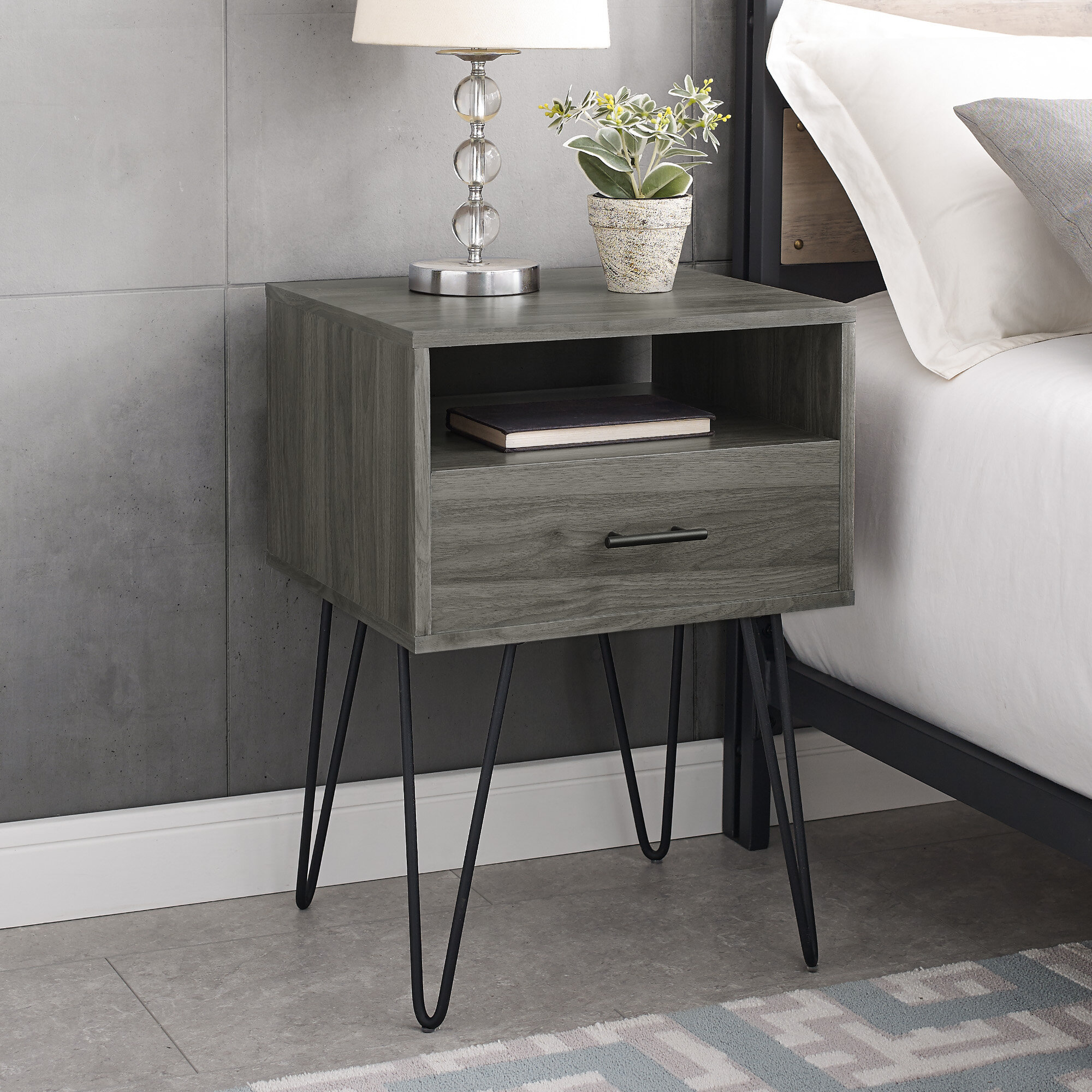 Kamille Single Hairpin Leg 1 Drawer Nightstand