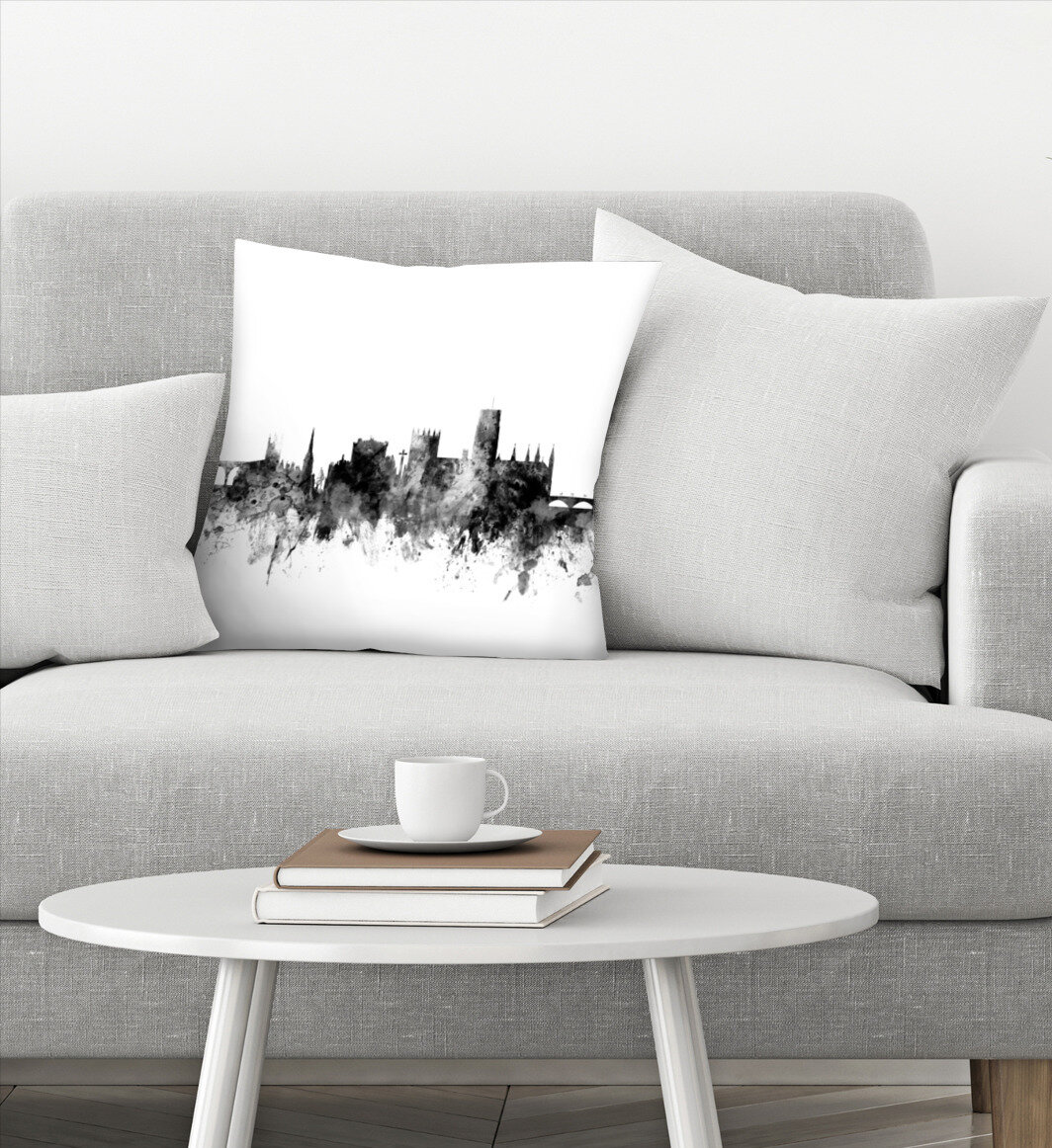East Urban Home Durham England Skyline Cityscape New 3 Throw Pillow