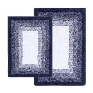 Crofoot Ombré Border Reversible Bath Rug Set (Set of 2)