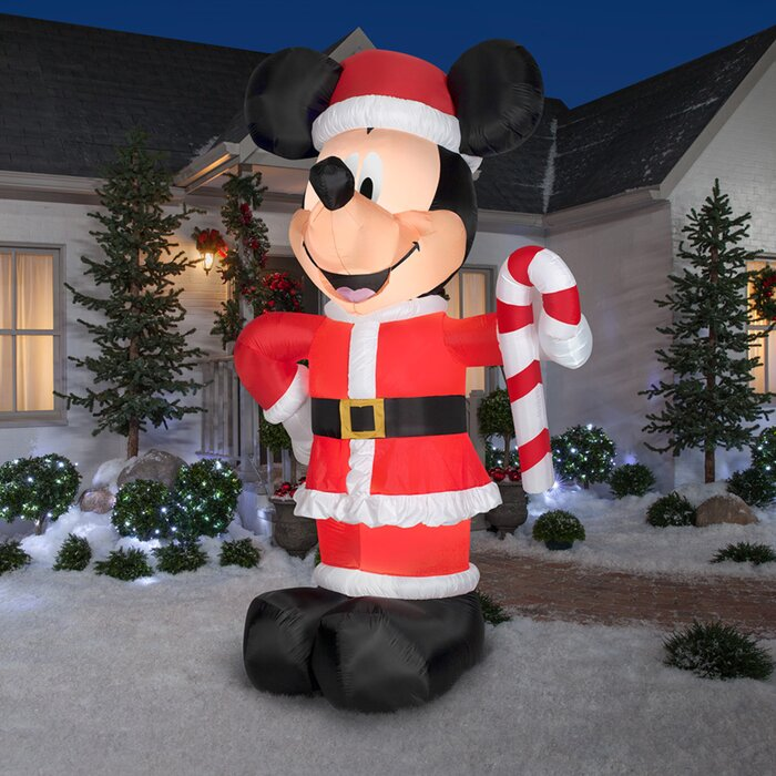 The Holiday Aisle Disney Santa Mickey with Candy Cane Inflatable & Reviews | Wayfair