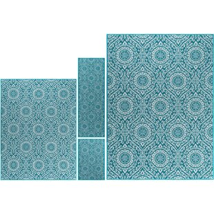 Corrina 4 Piece Teal Area Rug by Red Barrel Studio