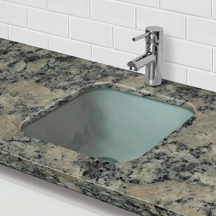 DECOLAV Translucence Glass Square Undermount Bathroom Sink