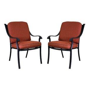 Sunderland Patio Dining Chair with Sunbrella Cushions (Set of 2) by Fleur De Lis Living