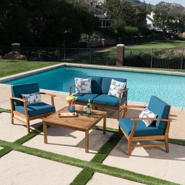 Joss Main Antonia4 Piece Teak Sofa Seating Group With Cushions Reviews Wayfair