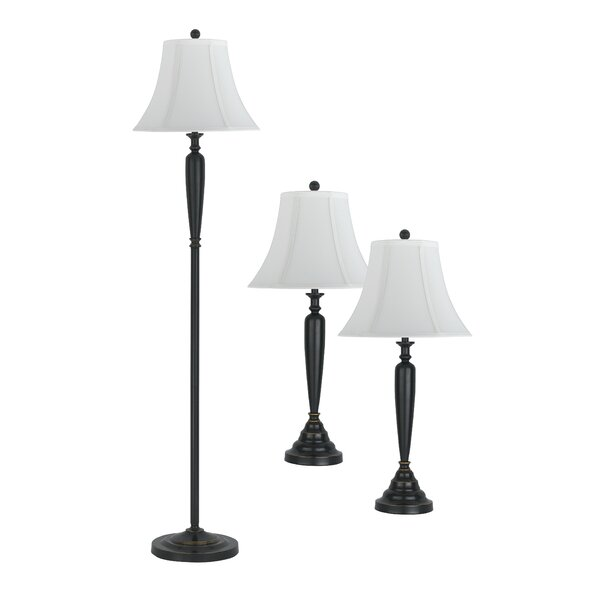 Stylecraft 3 piece table lamp and club floor lamp set with bell shade wayfair ca