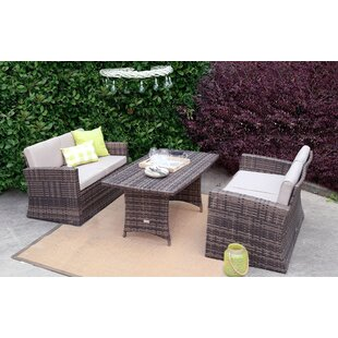 Khari 3 Pieces Rattan Sofa Seating Group with Cushions