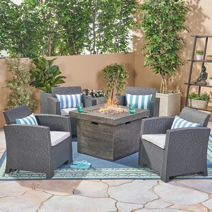 Helena Outdoor 5 Piece Rattan Sofa Seating Group with Cushions