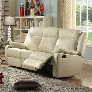 Roudebush Minor Double Leather Reclining Sofa by Latitude Run