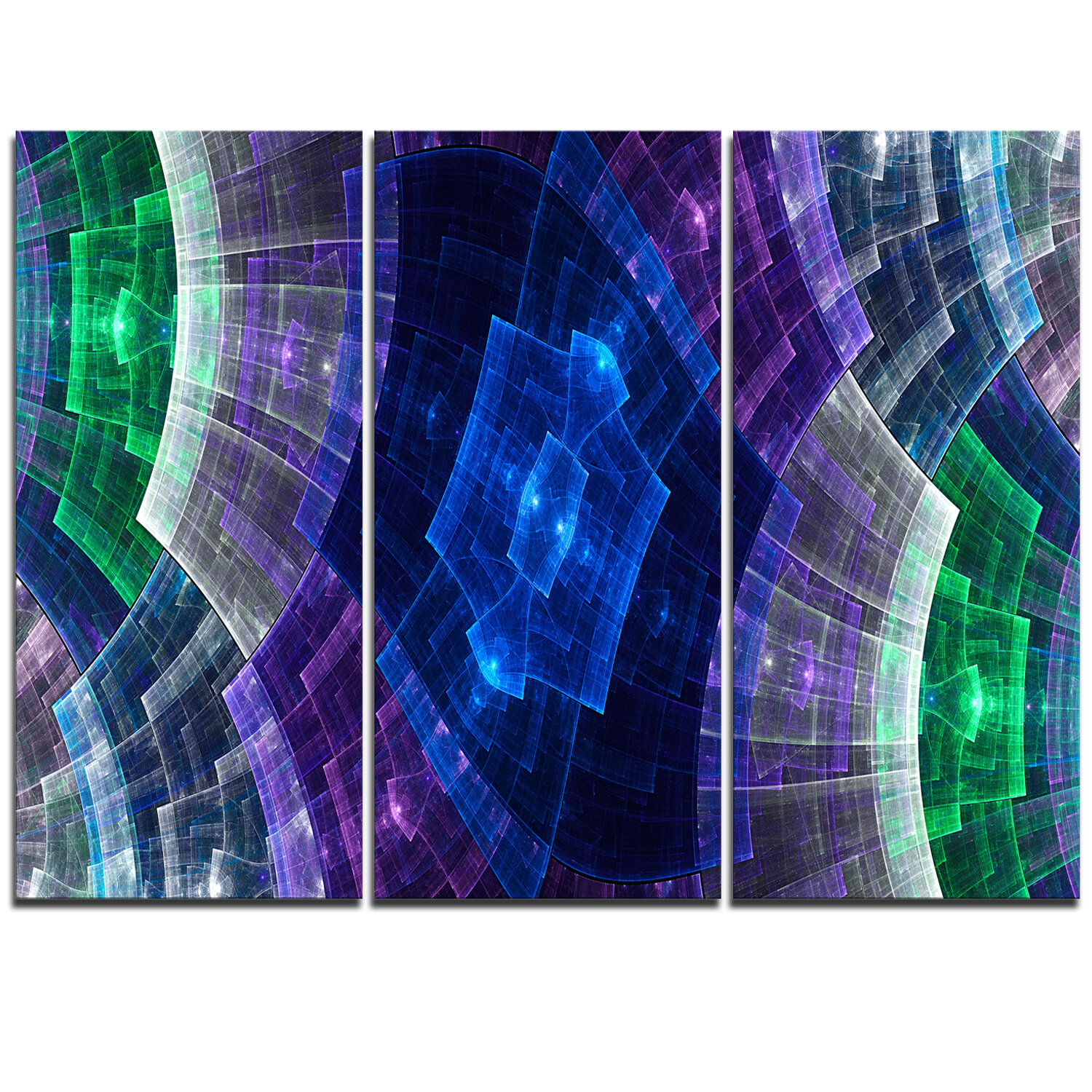 Designart Bright Blue And Green Flower Grid 3 Piece Graphic Art On Wrapped Canvas Set Wayfair