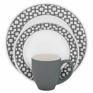 Impressions Urban Grid 16 Piece Dinnerware Set, Service for 4