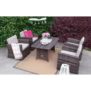 Yehuda 5 Pieces Rattan Sofa Seating Group with Cushions