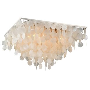 Beachcrest Home Navua Capiz Shell Square 5-Light Flush Mount