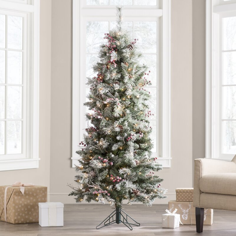 Berry Christmas Tree Lights: The Holiday Aisle Frosted Berry 6' Green Pine Christmas
