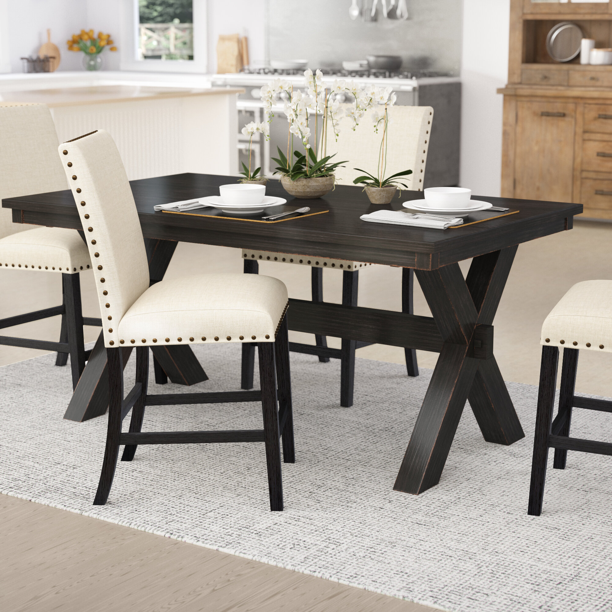 Laurel foundry modern farmhouse manitou transitional dining table reviews wayfair