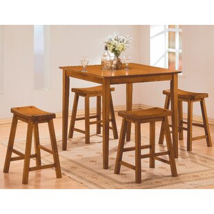 Magdalena 5 Piece Counter Height Solid Wood Dining Set by Winston Porter Looking for