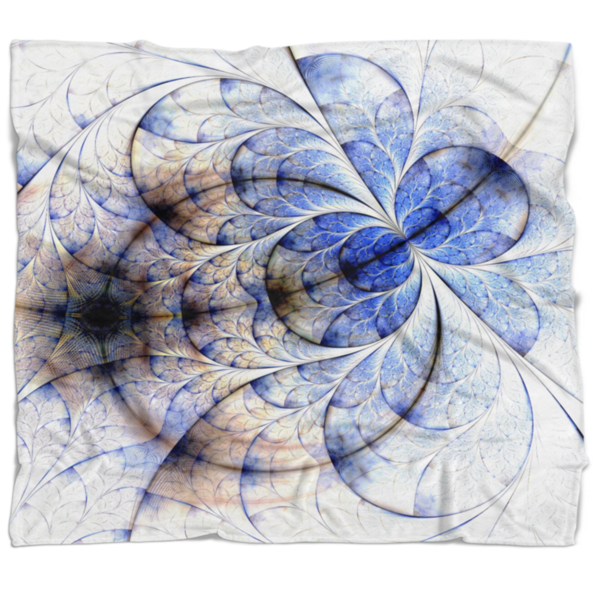 East Urban Home Symmetrical Fractal Flower Blanket Wayfair