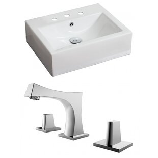 Ceramic Rectangular Vessel Bathroom Sink with Faucet and Overflow ByAmerican Imaginations
