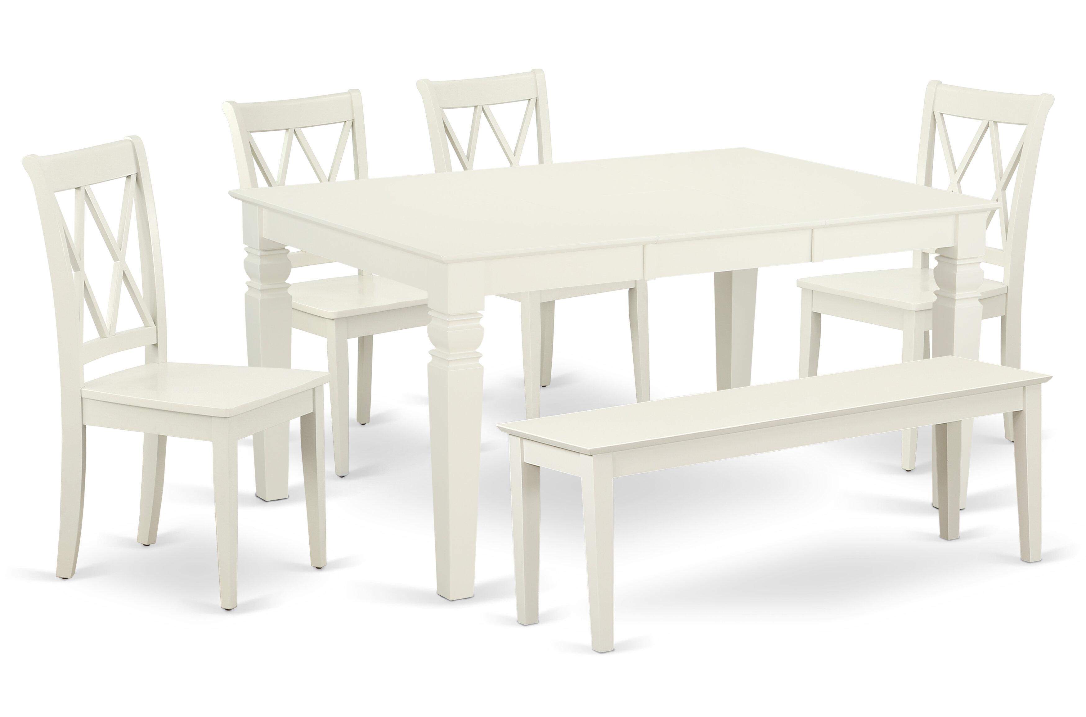 Kulas 6 Piece Extendable Solid Wood Breakfast Nook Dining Set