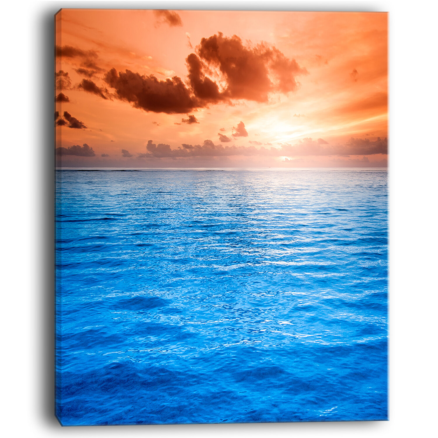Designart Brilliant Blue Waters Under Sunset Seashore Photographic Print On Wrapped Canvas Wayfair