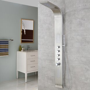 SP04-SS-D Multi-Function Thermostatic Rainfall and Waterfall Shower Tower Panel Massage Jets System with Handheld Shower Includes Rough-In Valve