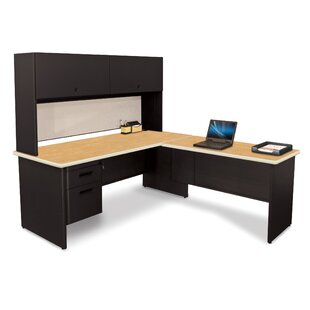 Pronto Lock L-Shape Executive Desk with Hutch by Marvel Office Furniture