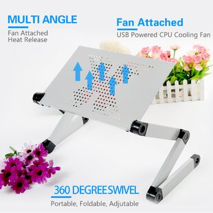 FCD Portable Foldable Adjustable Laptop Cart with Mouse Pad and Cooling Fan