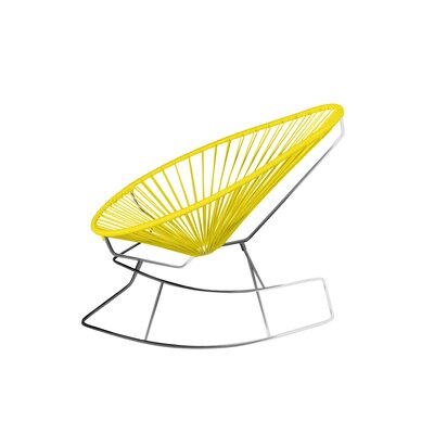 Brayden Studio Marvine Rocking Chair Color: Yellow/Chrome