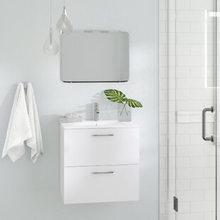 Compare prices Innis 24 Wall-Mounted Single Bathroom Vanity Set By Orren Ellis