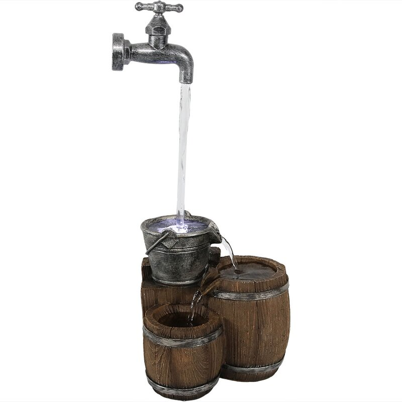 SunnyDaze Decor Resin Floating Faucet and Barrel Tabletop Water ...
