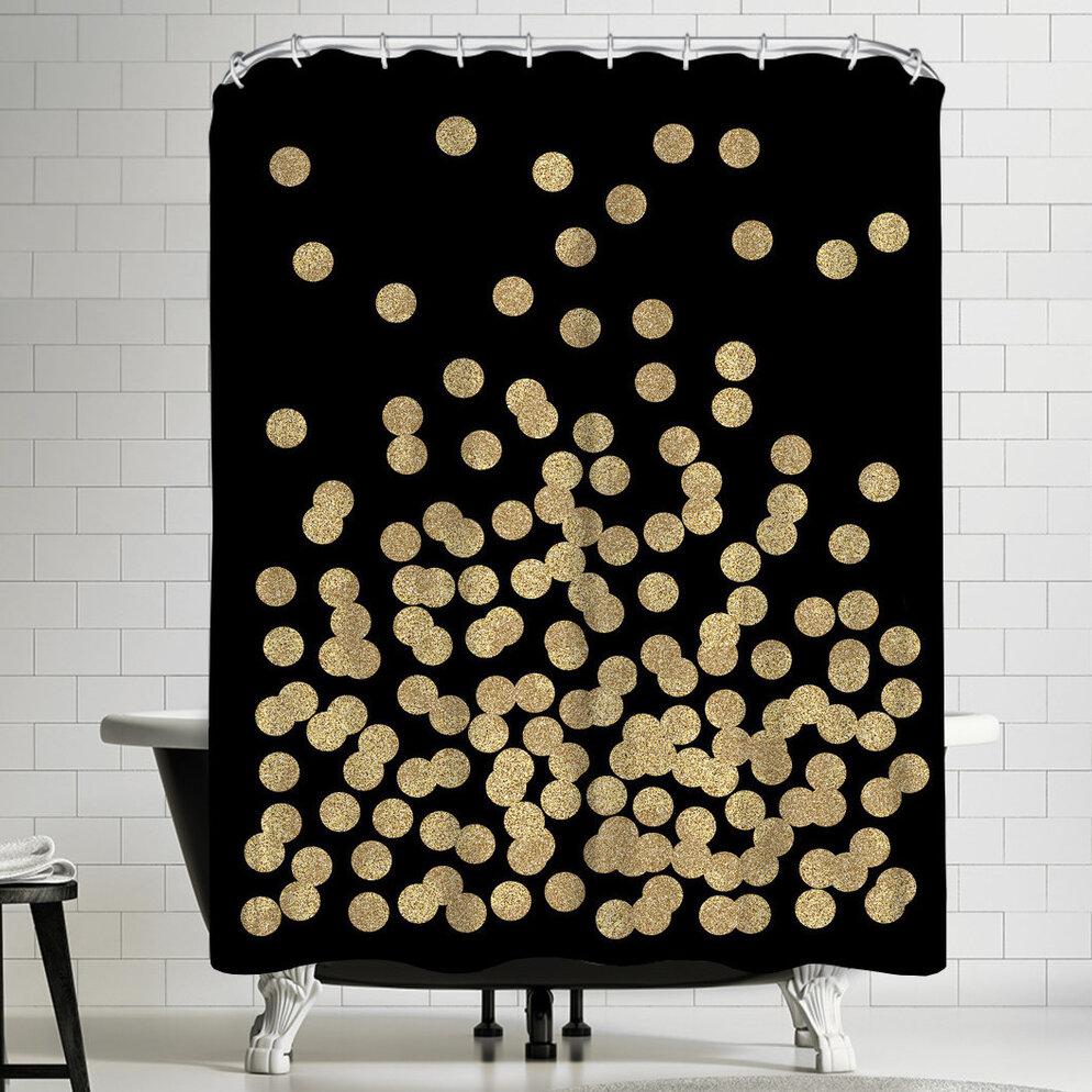 East Urban Home Gold Glitter Dots Shower Curtain