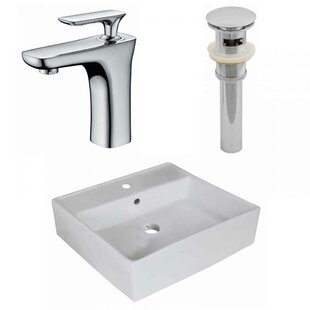 American Imaginations Ceramic Square Vessel Bathroom Sink with Faucet