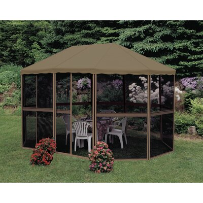 Gazebo Penguin 13 Ft. W x 9 Ft. D Aluminum Patio Gazebo Frame Finish: White, Roof Colour: Green