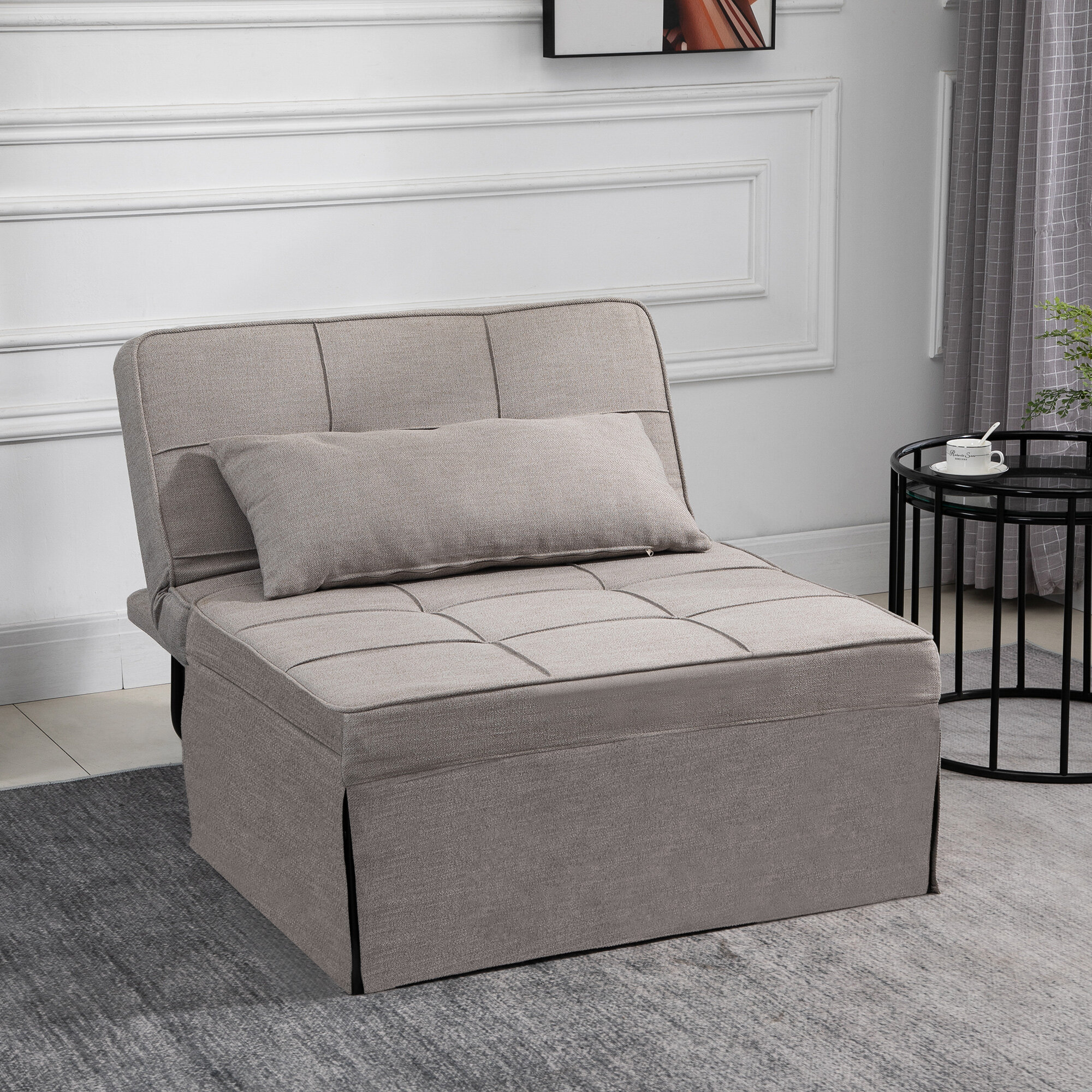 9-In-9 Table/Sofa/Chair/Bed With 9-Level Adjustable Backrest, Footstool For  Living Room Or Bedroom, Light Grey