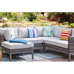 Goodson 4 Piece Rattan Sectional Seating Group with Cushion by Rosecliff Heights