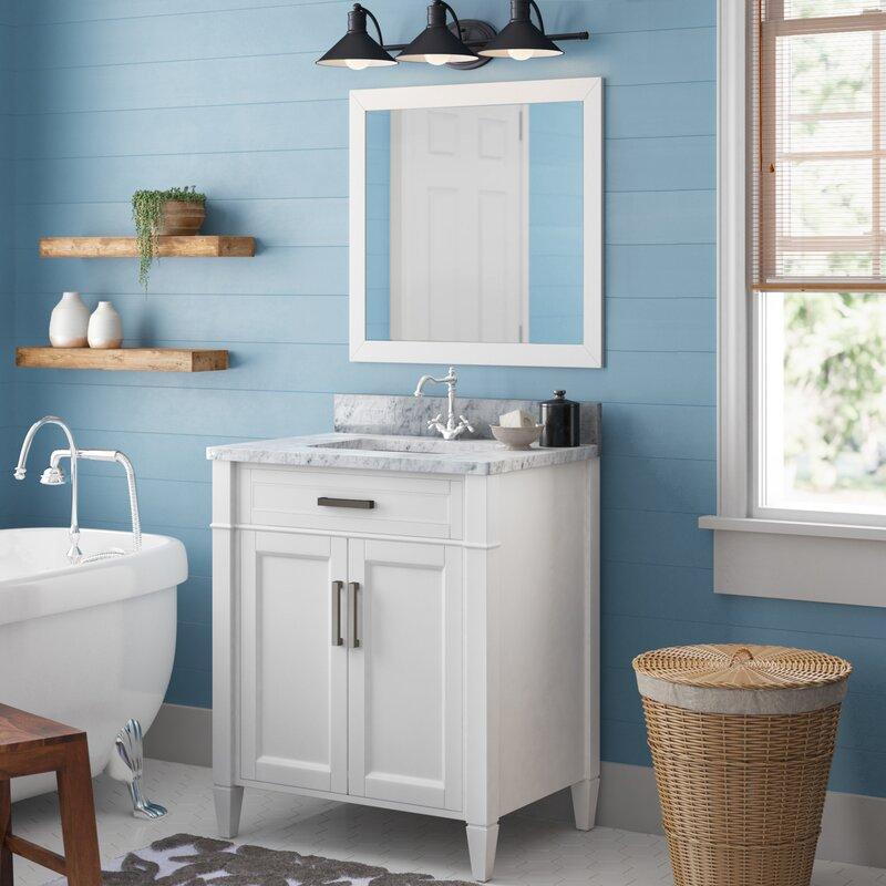 "Lachine Marble 64"" Single Bathroom Vanity Set with Mirror"