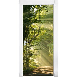Sunny Forest Path In Spring Door Sticker By East Urban Home