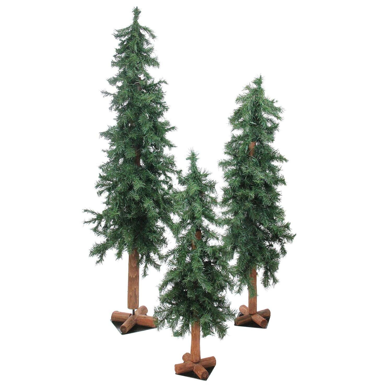 Northlight Set Of 3 Woodland Alpine Artificial Christmas Trees 3 4 And 5 Unlit Wayfair