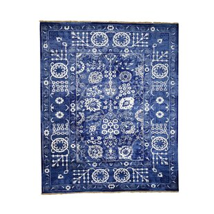 Where buy  One-of-a-Kind Bakken Tone on Tone Hand-Knotted 8'2 x 10'1 Wool/Silk Blue/White Area Rug By Isabelline