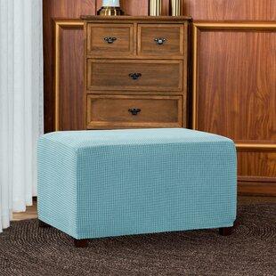 Jacquard Spandex Stretch Box Cushion Ottoman Slipcover By Ebern Designs