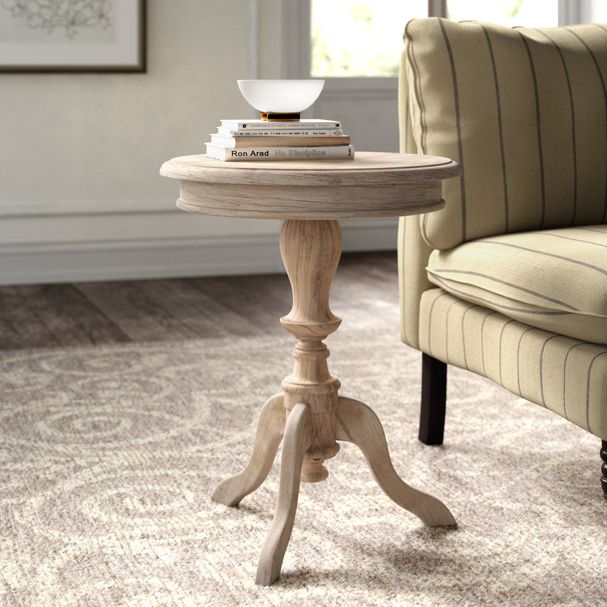 Kelly Clarkson Home Corsair Solid Wood Pedestal End Table Reviews Wayfair