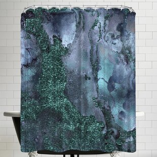 Grab My Art Abstract Malachite Gemstone Blue And Green Marble Single Shower Curtain by East Urban Home Discount