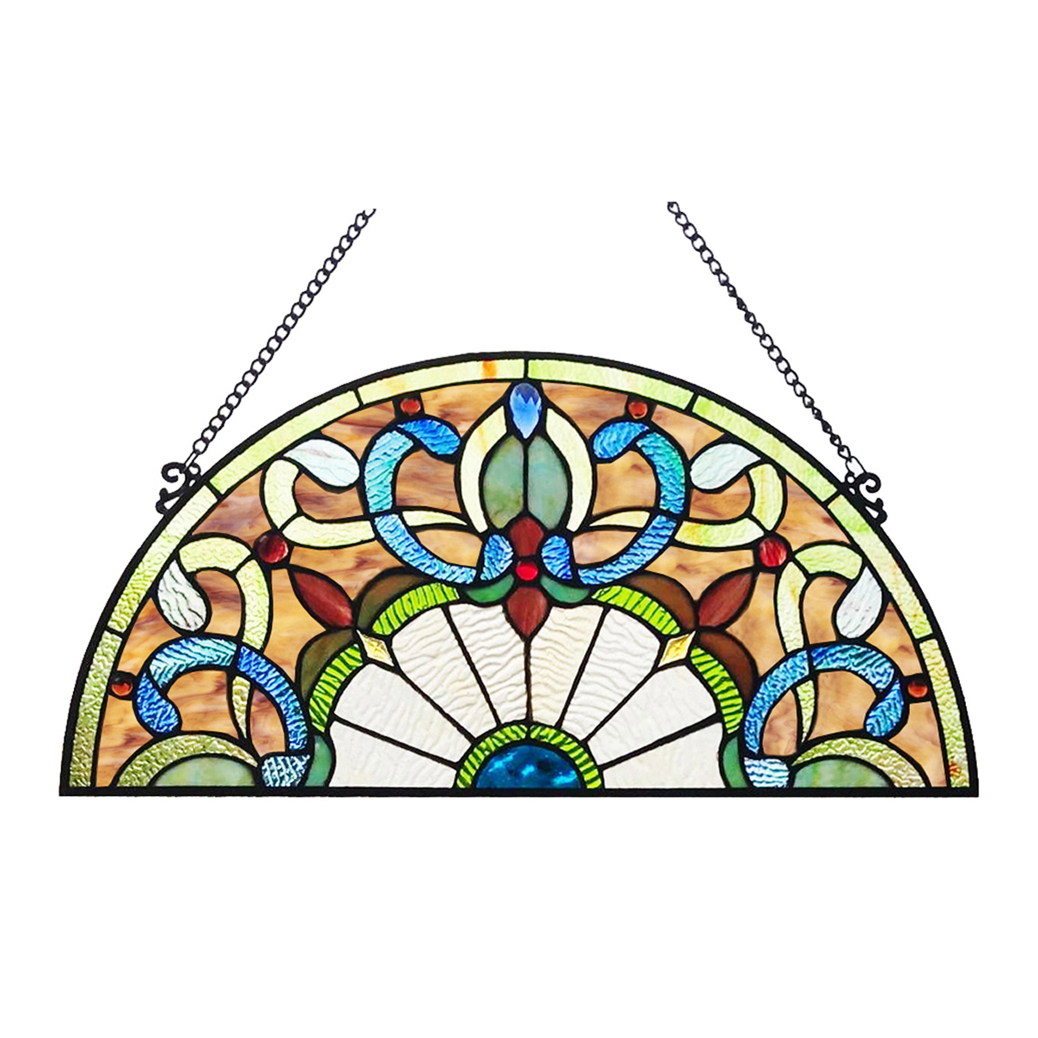 Astoria Grand Corista Half Moon Stained Glass Window Panel Reviews