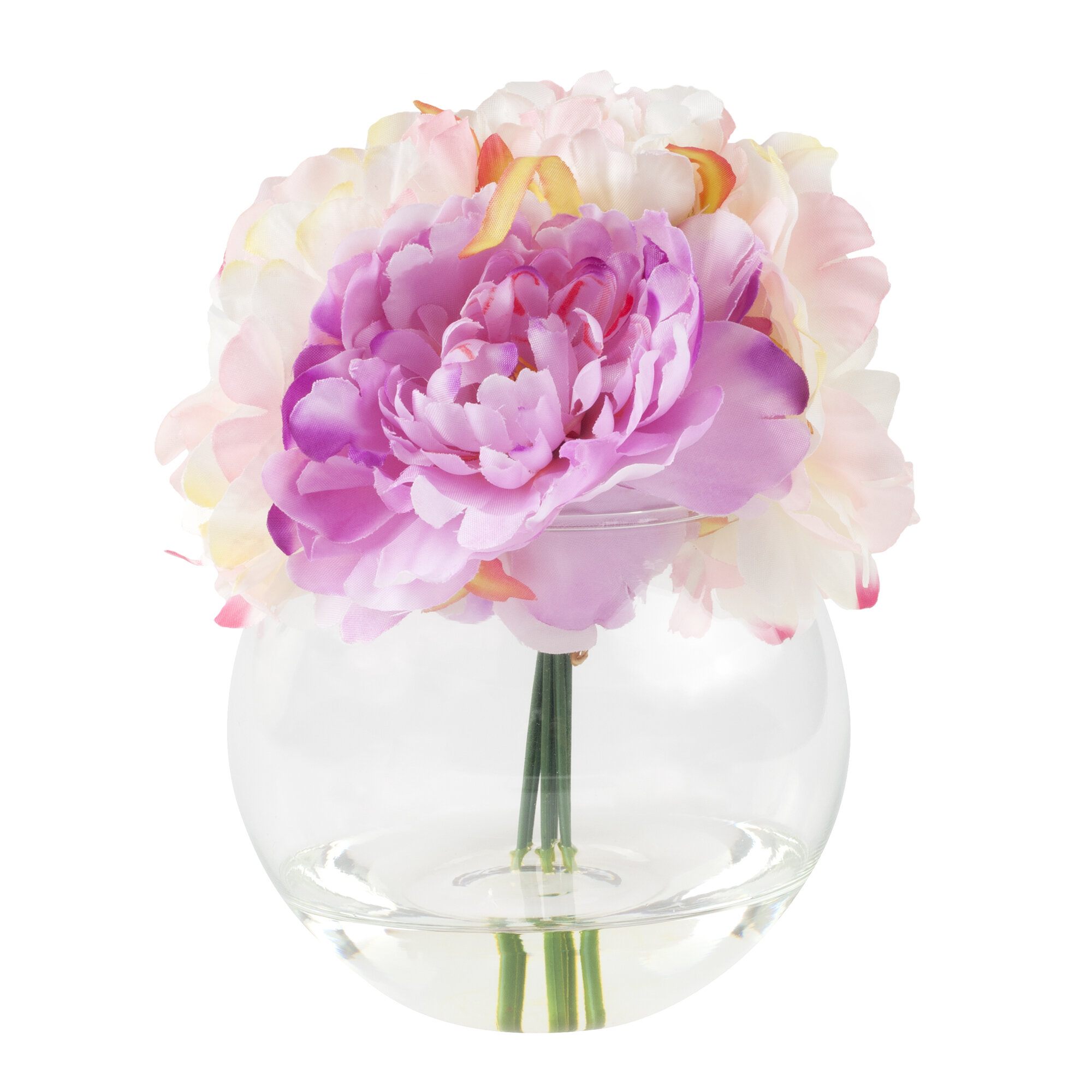 Peony artificial flowers youll love wayfair peony arrangement in glass vase reviewsmspy