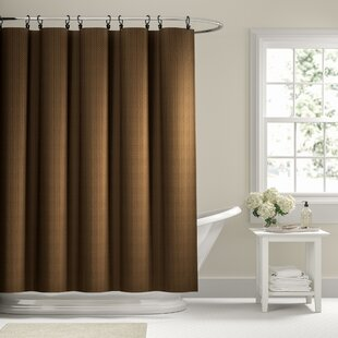 Winnifred Waffle Weave Textured Fabric Single Shower Curtain