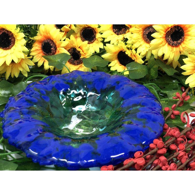 Latitude Run Aramenta Glass Oval Decorative Bowl In Blue Wayfair